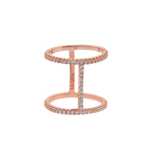 Rose Gold Plated Rhinestone Line Cage Ring