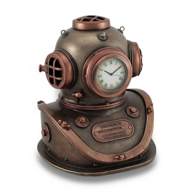 Bronze And Copper Finish Mark V Dive Helmet Desk Desk Clocks
