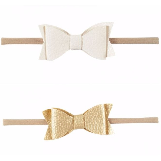 Set of 2 Faux Leather Headbands: White & Gold