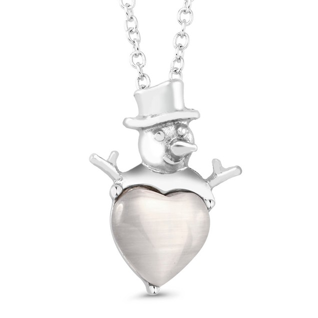 Pearl White Gold Plated Snowman Necklace