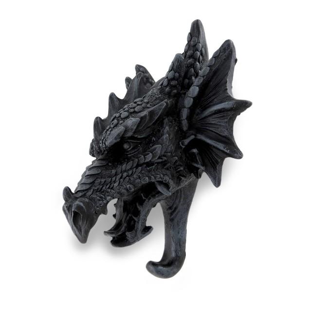Cast Iron Finish Gothic Dragon Head Sculptural Decorative Wall Hooks