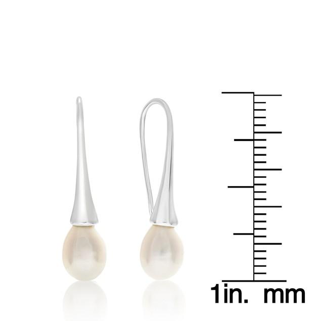 8mm Freshwater Cultured Pearl Drop Earrings In Silver