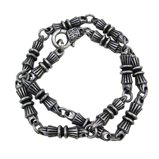 Ornate Bar Link Solid Pewter Necklace 17 Inch Mens Chain Necklaces