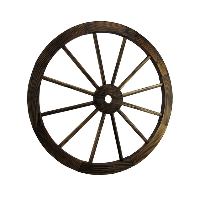 Pair Of Wooden Wagon Wheel Decorative Wall Wall Sculptures