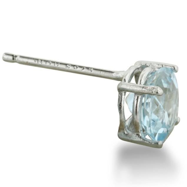 Round Blue Topaz Earrings in Sterling Silver
