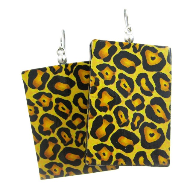 Paper Artwork Panel Leopard Print Dangle Earrings Womens Dangle Earrings