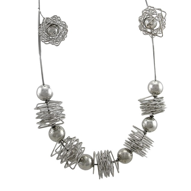 Polished Chrome Wire Wrap & Sphere Necklace Womens Earring And Necklace