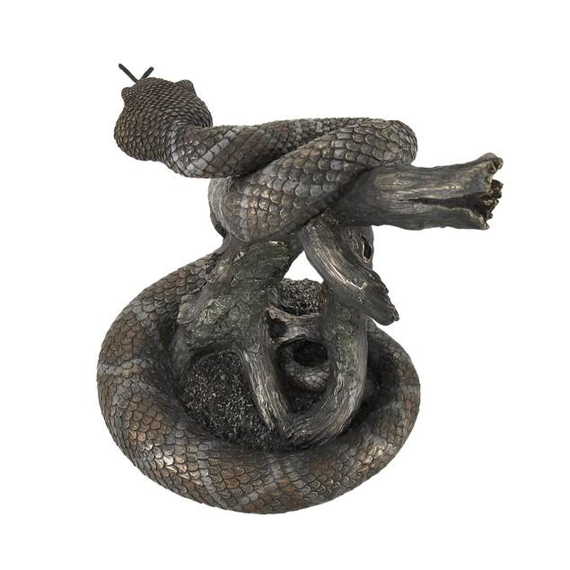 Beautiful Bronzed Rattlesnake Statue Statues