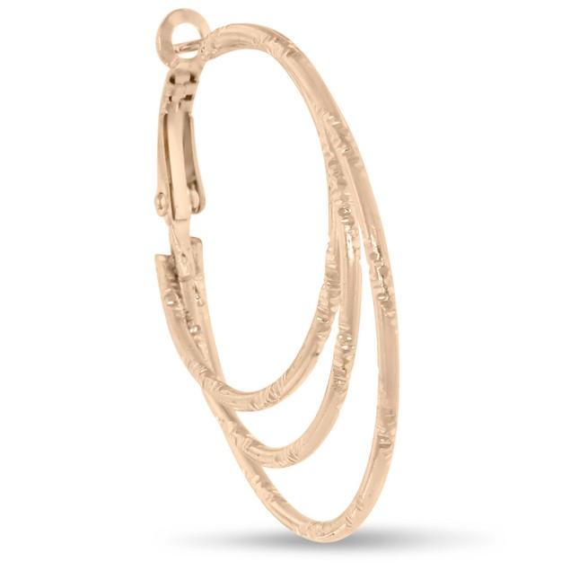 Rose Gold Plated Triple Hoop Earrings