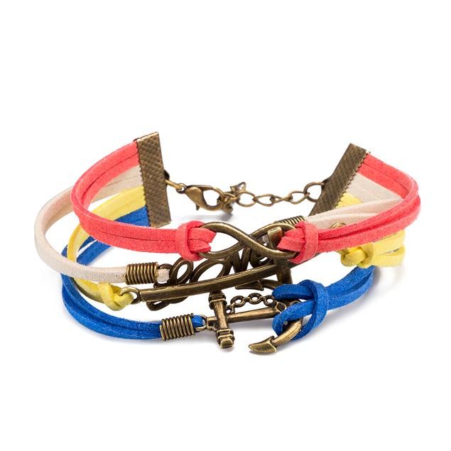 Multi Color Sleek Infinity Anchor Bracelet