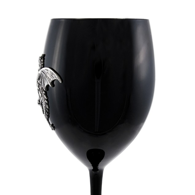 Glossy Black Glass Dragon Pentagram Wine Goblet Goblets