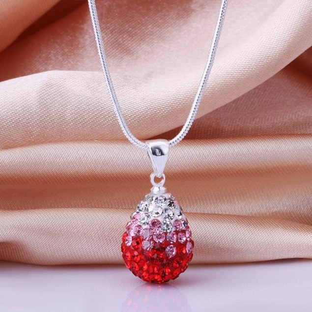 Classic Austrian Stone Necklace - Red