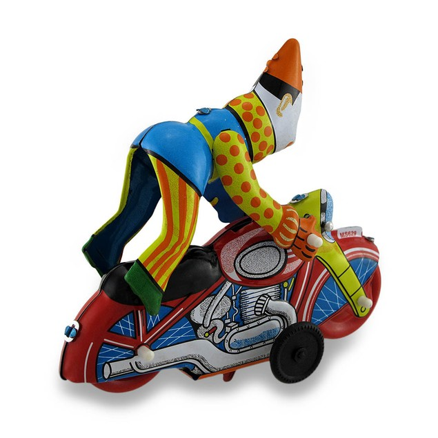 Clown On A Motorcycle Vintage Style Mechanical Tin Wind Up Toys