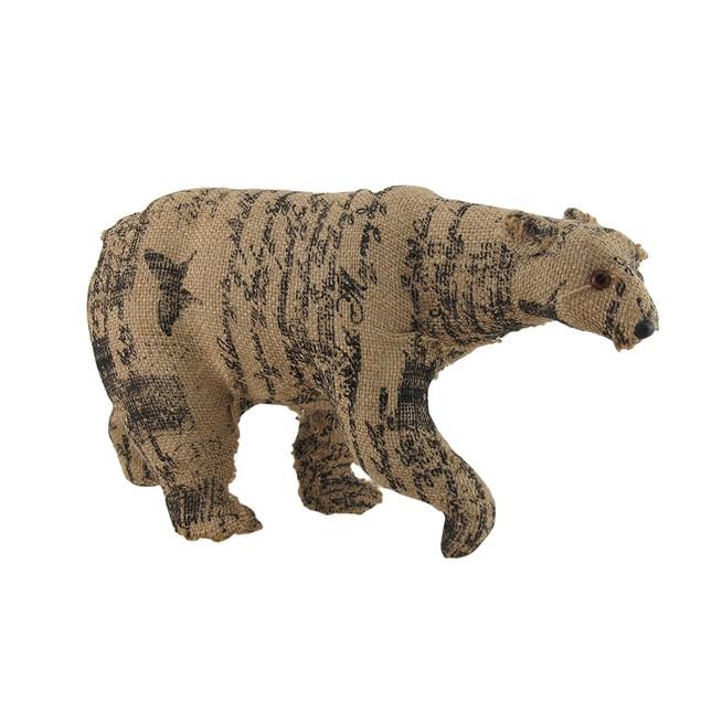 Postcard Print Walking Bear Decorative Burlap Sculptures