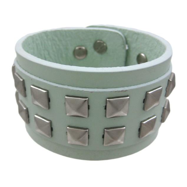 Gray Leather 2 Row Pyramid Studded Wristband Wrist Mens Leather Bracelets