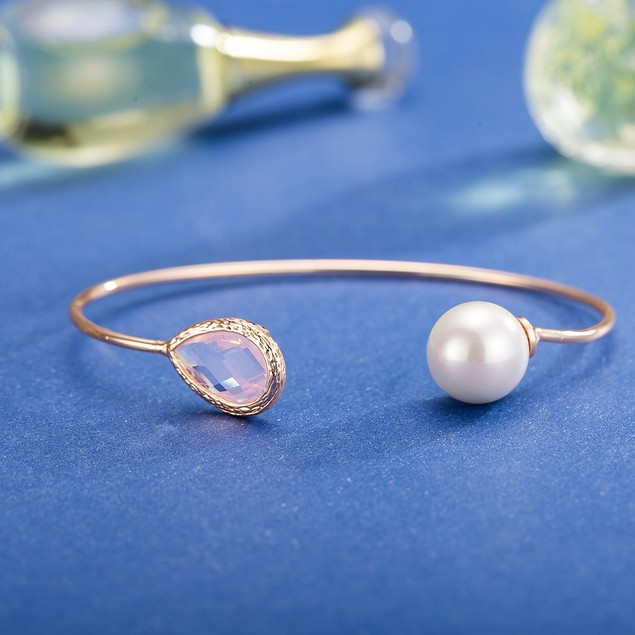 White Gold Plated Light Coral Gem & Pearl Open Ended Bangle
