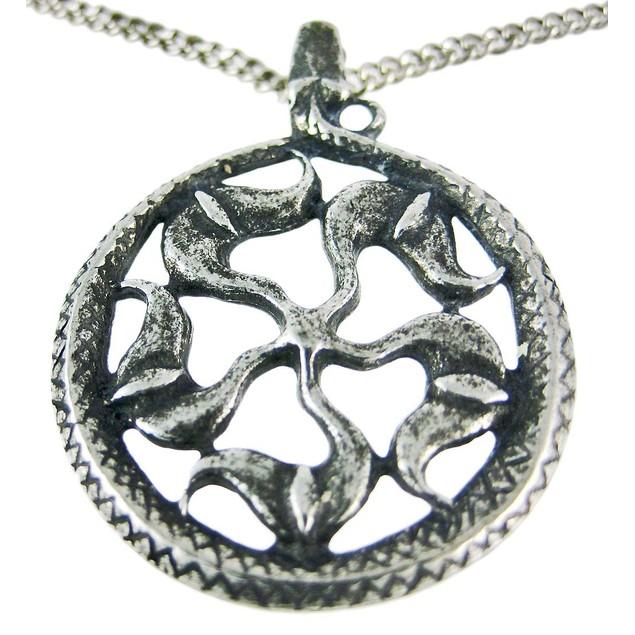 Solid Pewter Norse Sun Wheel Pendant / Necklace Mens Pendant Necklaces