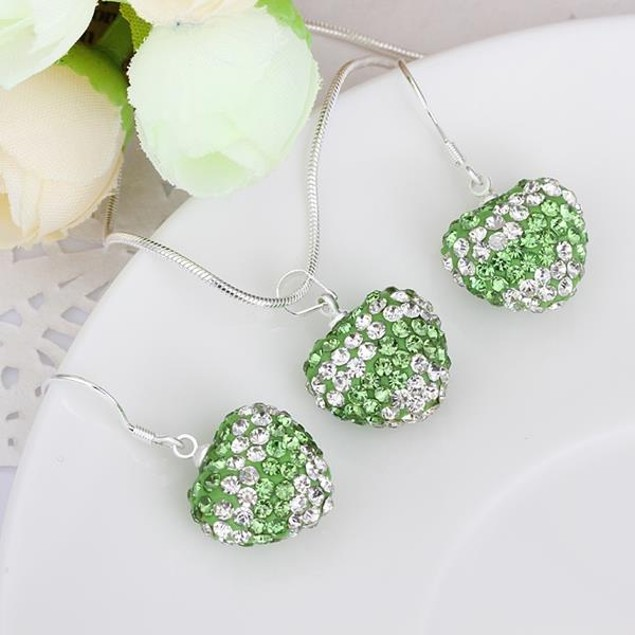 Austrian Stone Multi-Pave Heart Drop Earring and Necklace Set - Light Green
