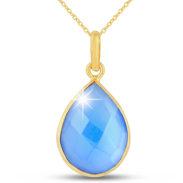 10ct Blue Chalcedony Teardrop Necklace in 18k Gold Overlay