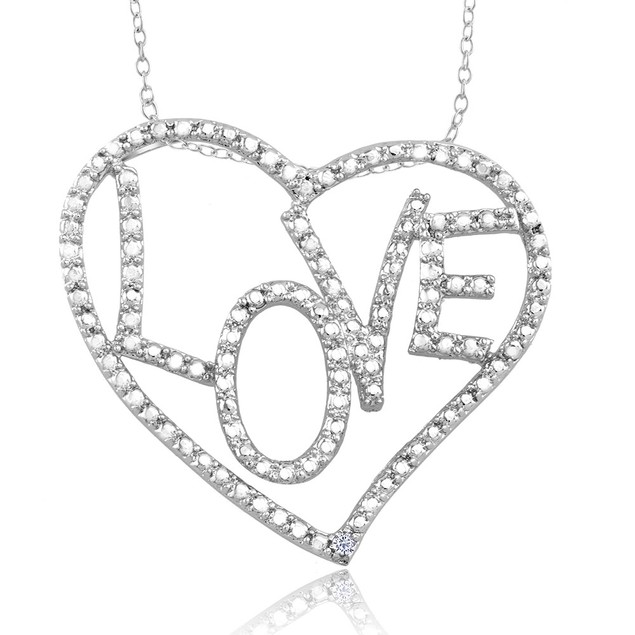 1/10 CTW Diamond Accent Necklace - Large Love