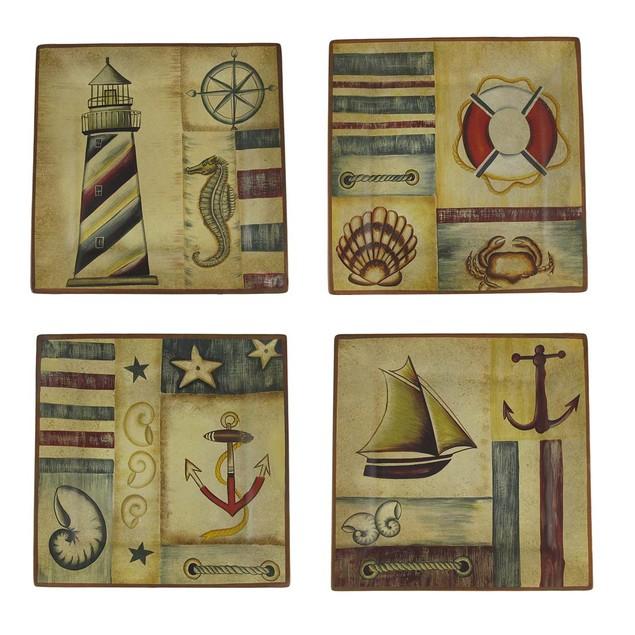 Set Of 4 Nautical Motif Decorative Square Plates Decorative Plates