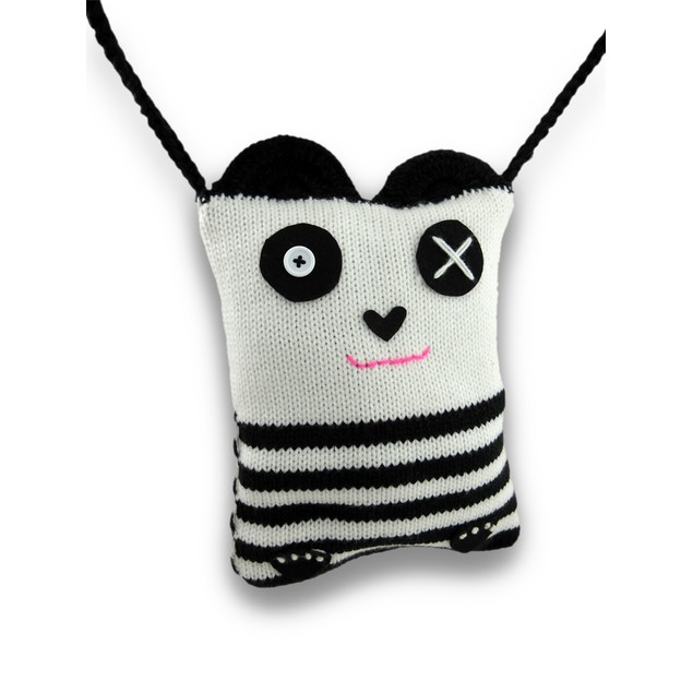 White And Black Acrylic Knit Panda Bear Cross Body Womens Cross Body Bags