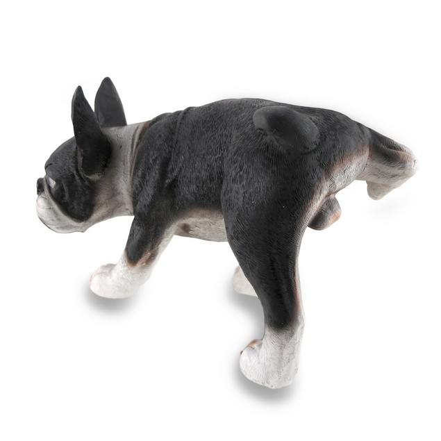 Humorous Boston Terrier Dog Lifting Leg Piddle Statues