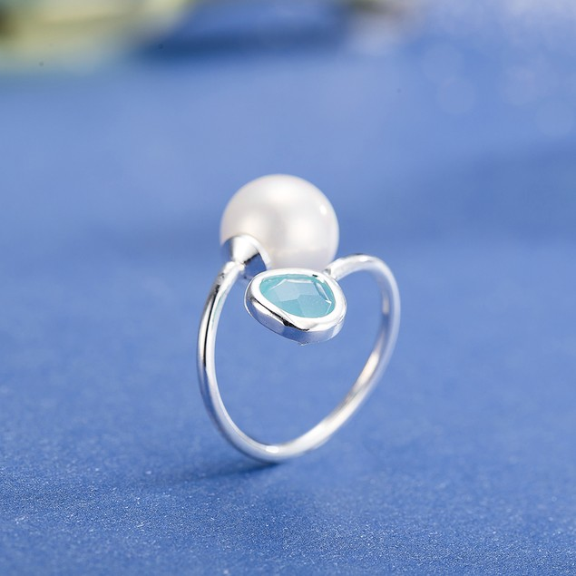 White Gold Plated Petite Turquoise & Pearl Ring