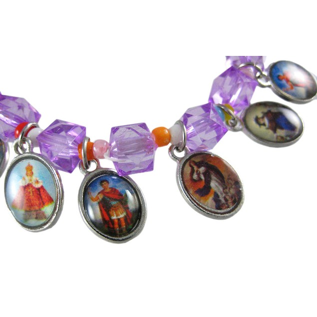 Purple Bead Stretch Bracelet Dangling Religious Womens Stretch Bracelets