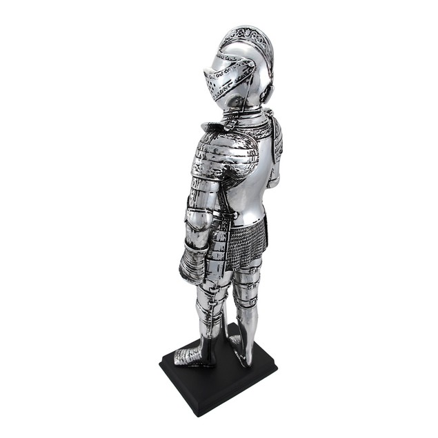 Silver Finish Medieval Knight In Armor Statue Statues