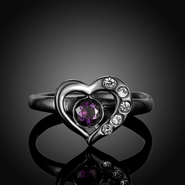 Black Hollow Heart Ring
