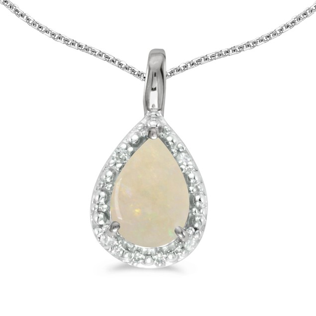 """14k White Gold Pear Opal Pendant with 18"""" Chain"""