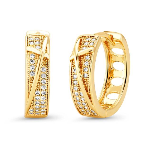 18kt Yellow Scribbled Goldtone Cubic zirconia  Huggie Earrings