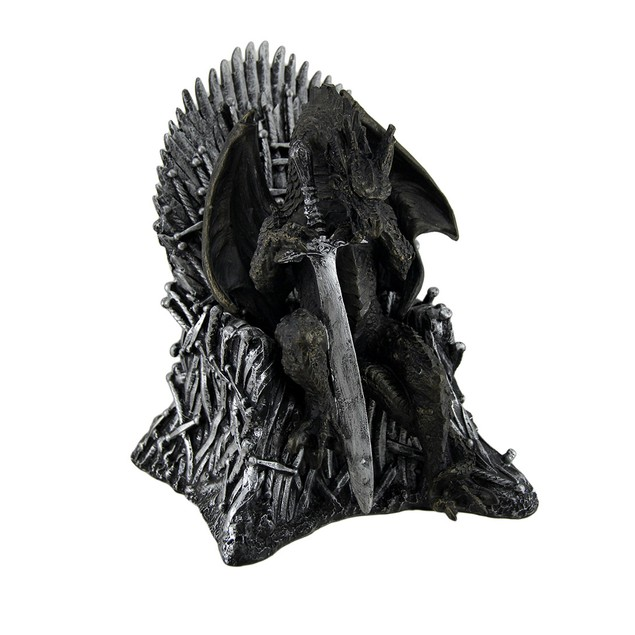 Wicked Dragon Lord On Throne Of Swords And Skulls Statues