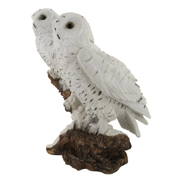 Pair Of Snow Owls On A Branch Statue Statues
