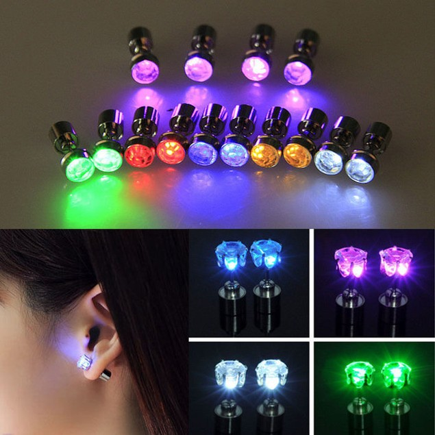 3-Pack: LED Light Up Stud Earrings - Assorted Colors
