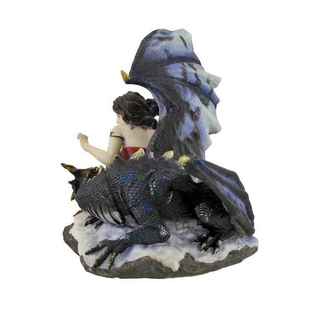 Gothic Maiden Protected By Dragon In The Snow Statues