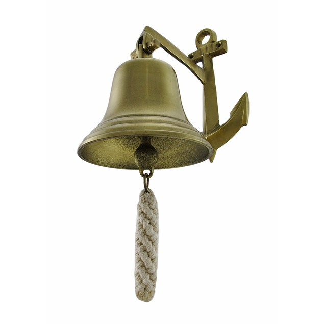 Polished Brass Finish Ship Bell And Anchor Wall Wall Sculptures