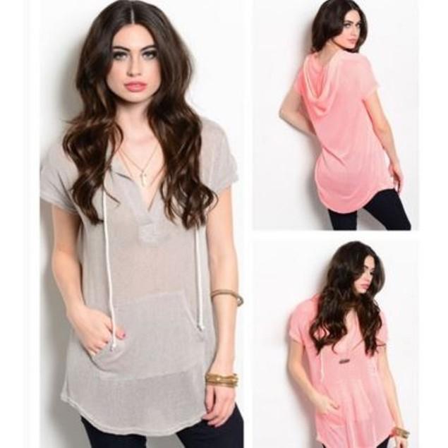 Short Sleeve Chic Hoodie - 2 Colors