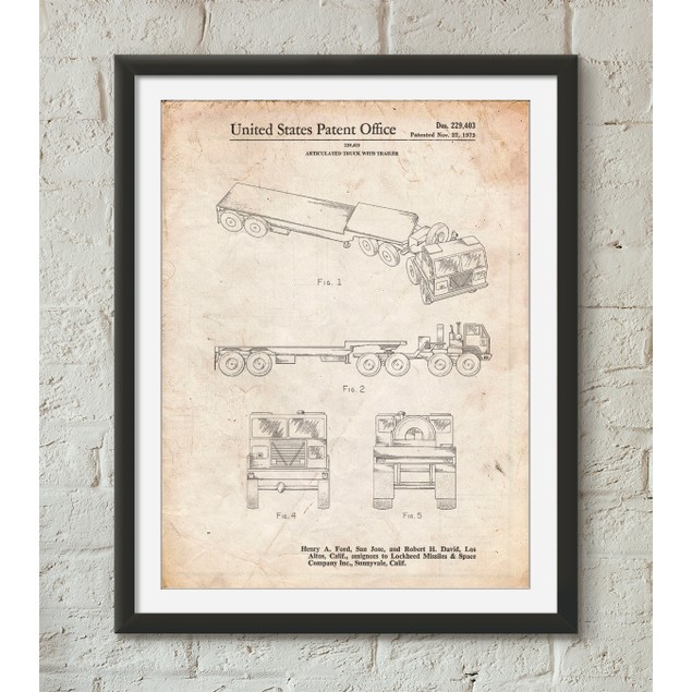 Truck and Trailer Patent Poster