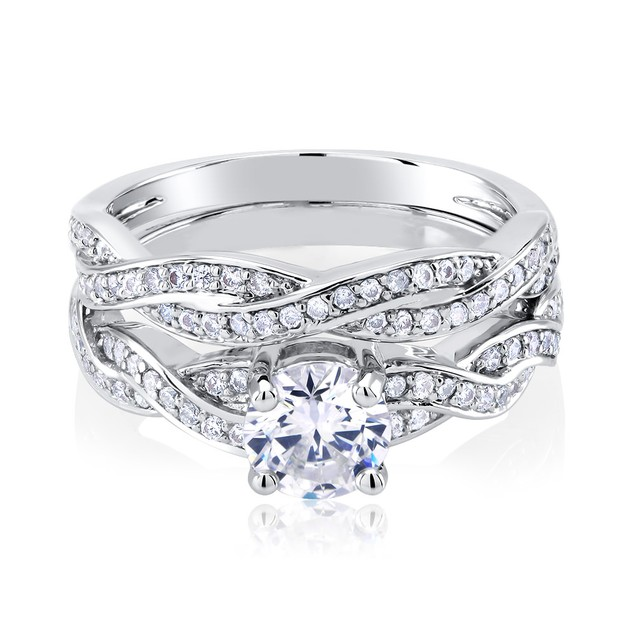 Two Piece Cubic Zirconia Engagement Ring Wedding Set