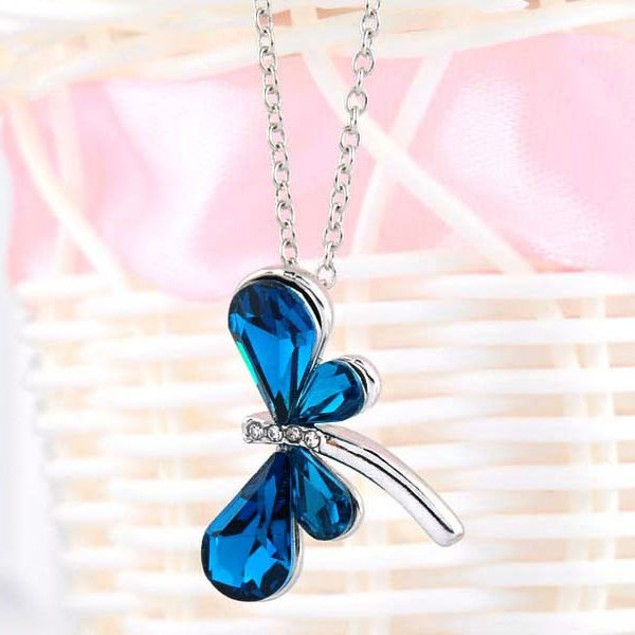 Blue & White Cubic Zirconia Dragon Fly Necklace