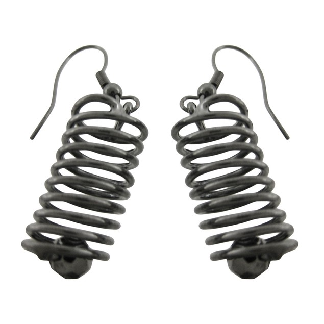 Gunmetal Spiral Wire Cylinder Necklace / Earrings Womens Earring And