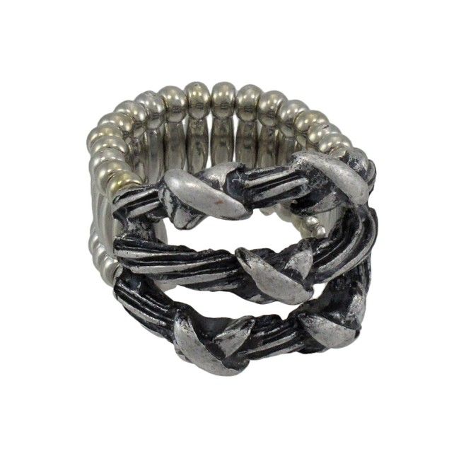 Silvertone Barbed Wire Stretch Ring Rings