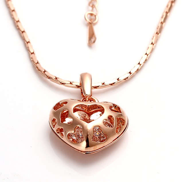Heart Chamber Necklace with Austrian Crystal