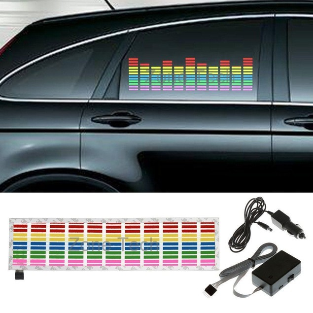 Zone Tech Sound Music Beat Activated Car Sticker Equalizer MultiColored LED