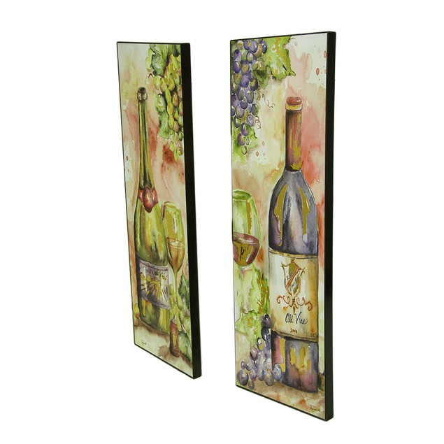 2 Pc. Red And White Wine Foiled Watercolor Wall Prints