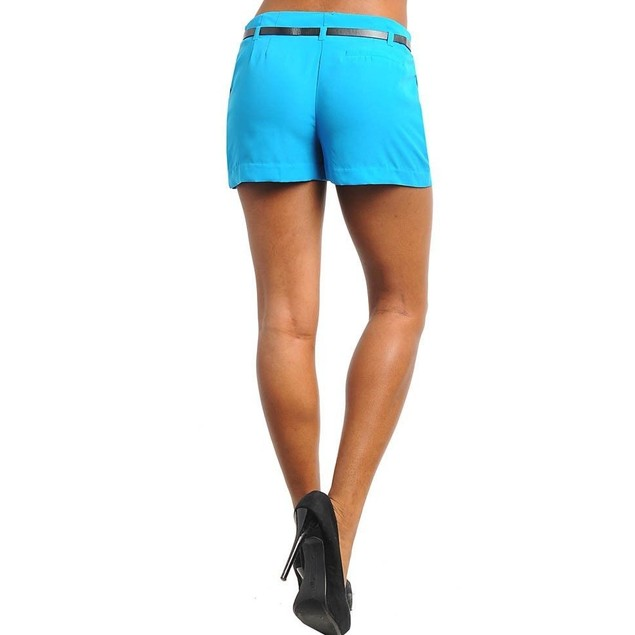 Juniors Shorts Blue With Skinny Belt New