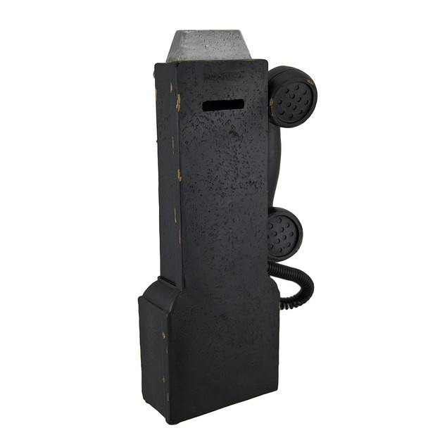 Vintage Look Black Replica Pay Phone Coin Bank Toy Banks