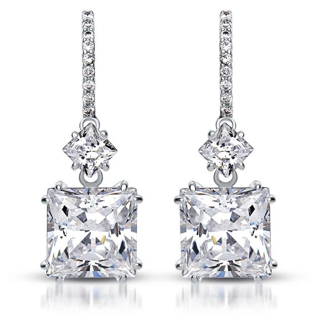 C.Z. Sterling Silver Square Shape Drop Earrings